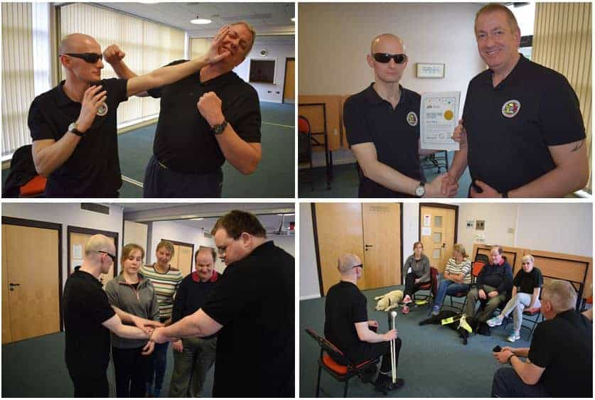 David leading the Personal Safety Class tester with Alan Bell. Includes action shots and David with his certificate.